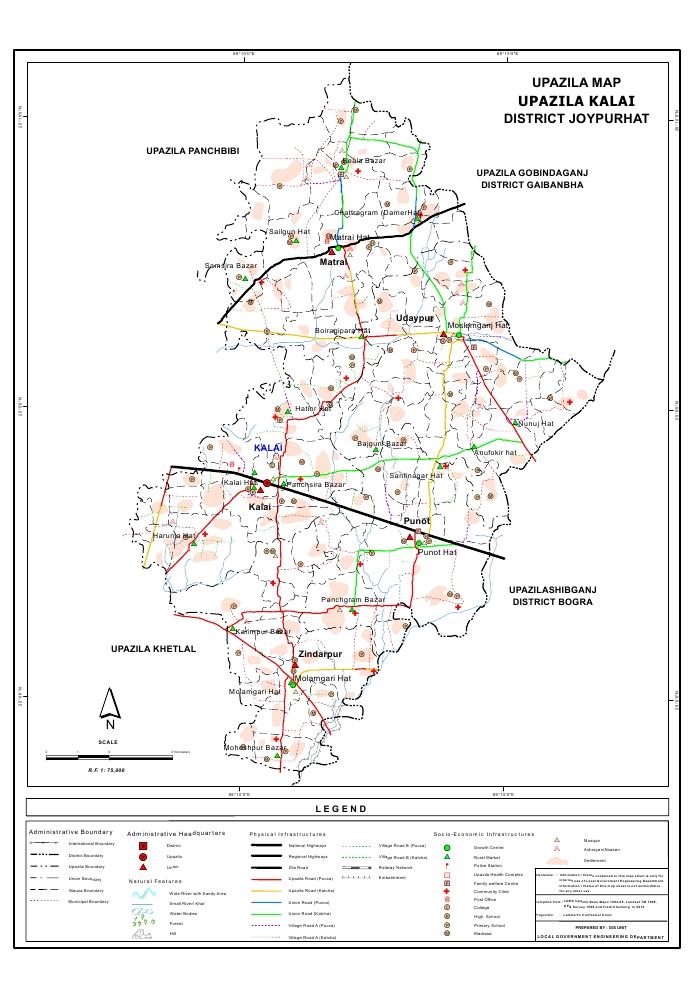 Kalai Upazila Map Joypurhat District Bangladesh