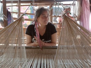 Village weaver working with Lao Sericulture Co.