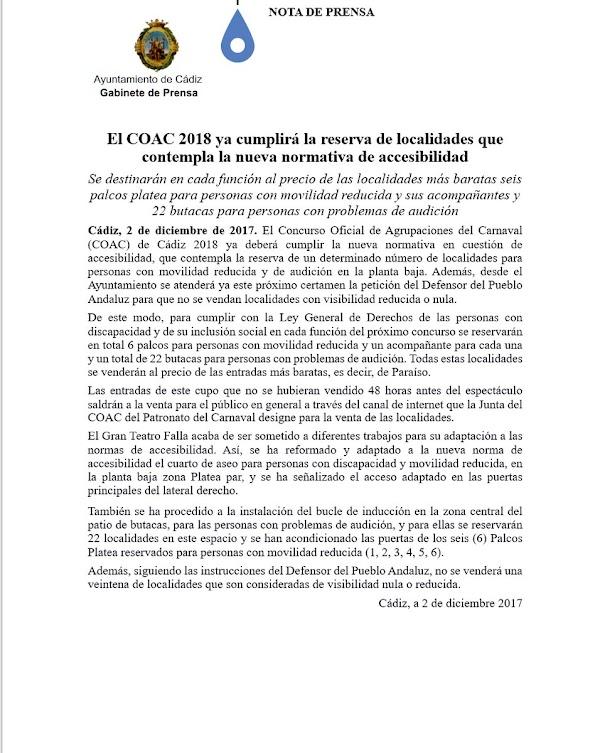 El COAC 2018 ya cumplirá la reserva de localidades que contempla la nueva normativa de accesibilidad