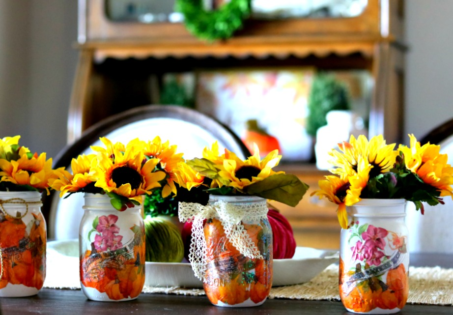 Pumpkin inspired decoupage jars