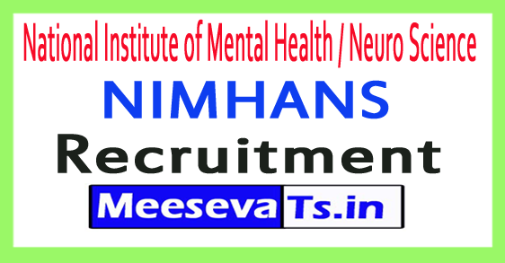 National Institute of Mental Health / Neuro Science NIMHANS Recruitment
