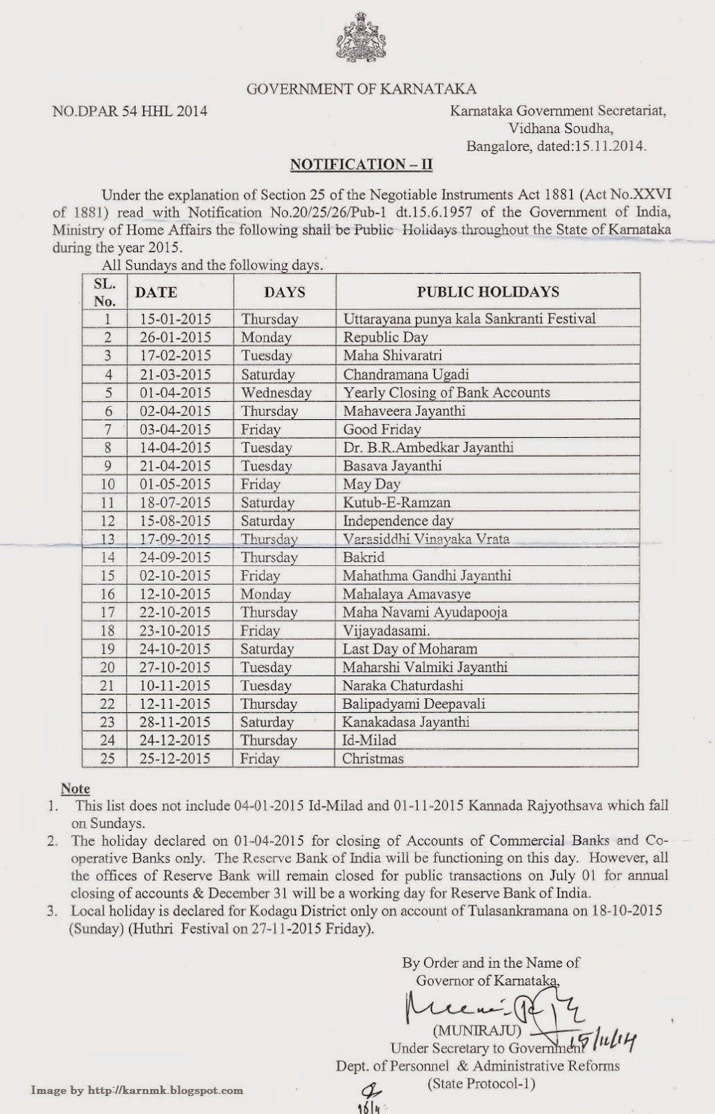 public holidays 2013 karnataka