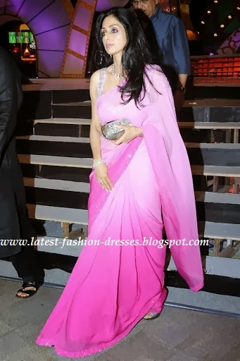 sridevi double color pink shaded saree