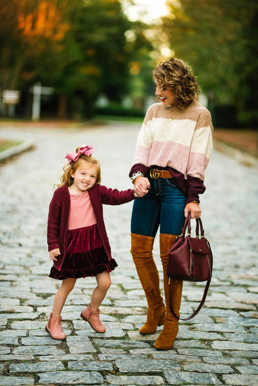 Pink & Burgundy Color Block Looks for Moms and Kids - Something Delightful Blog