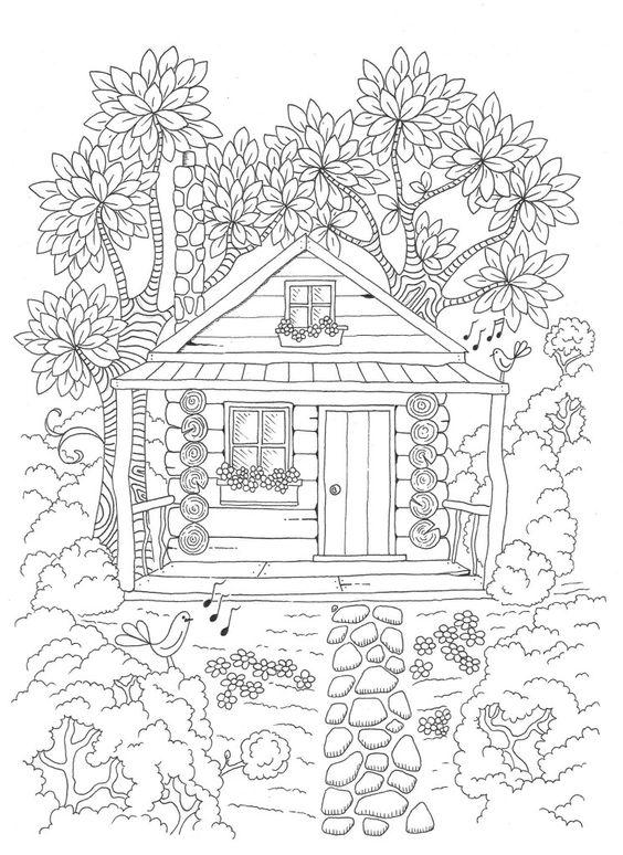 Tranh tô màu ngôi nhà có chim hót