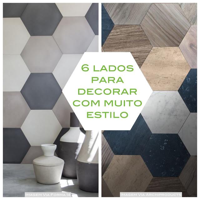 decoração com azulejo hexagonal