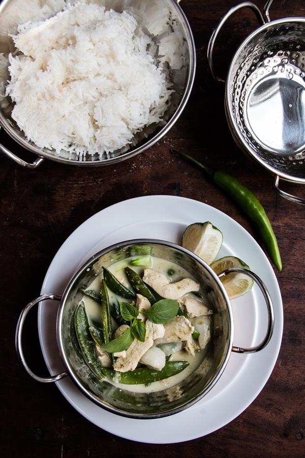 curry, kurczak, groszek