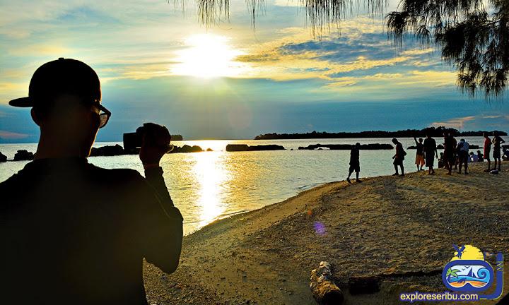 sunset di pulau bulat - wisata pulau harapan