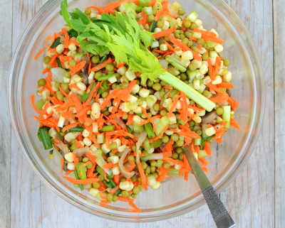 Marinated Vegetable Salad, another simple seasonal salad ♥ A Veggie Venture, very retro. Not just vegan, Vegan Done Real. Naturally Gluten Free. And just slightly pickle-y ... and addictive.
