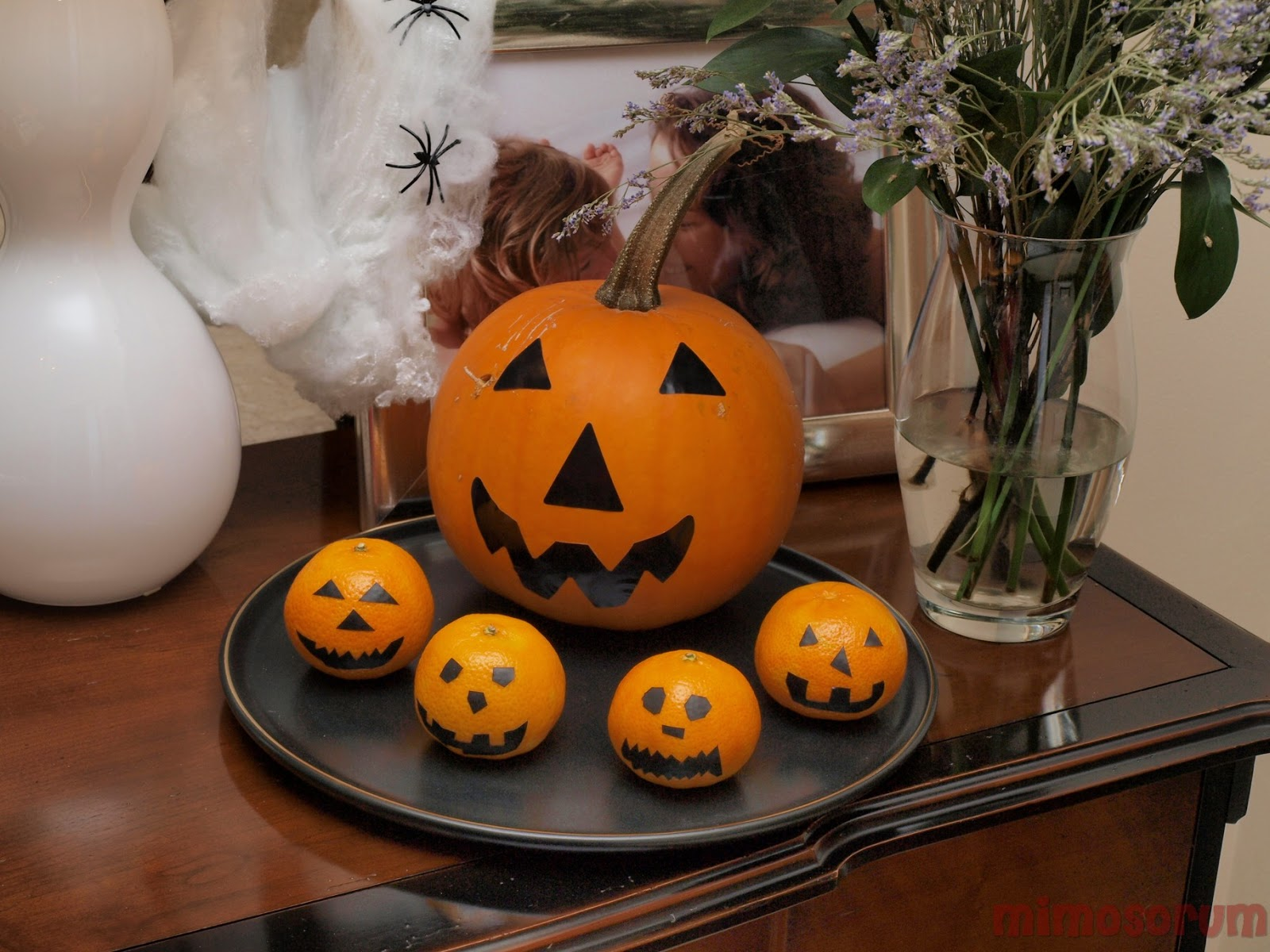 Decoración Halloween con mandarinas.Mimosorum
