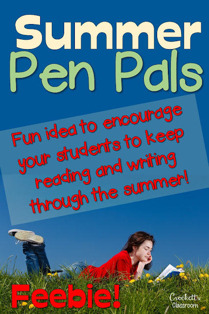 Summer Pen Pals, encourage your students to keep reading and writing through the summer by being pen pals with each other.