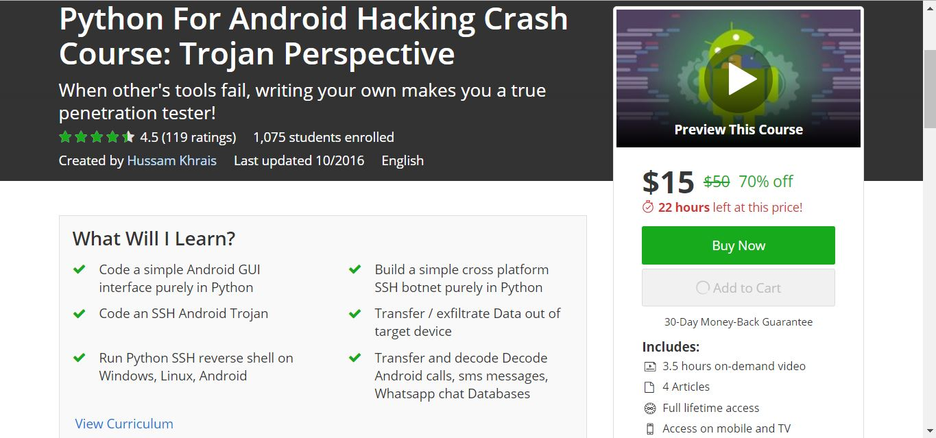 Python For Android Hacking Crash Course: Trojan Perspective [ Udemy