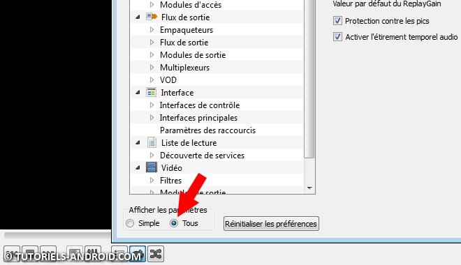 Afficher les paramètres avancés VLC Player