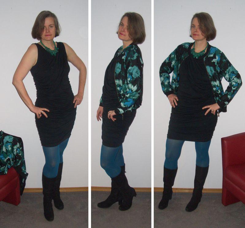 Blouson-Statementkette-Shirtkleid-Silvester-kombiniert