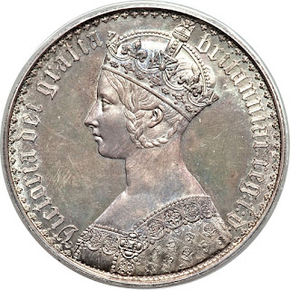 British Silver Coins Gothic Crown 1847 Queen Victoria