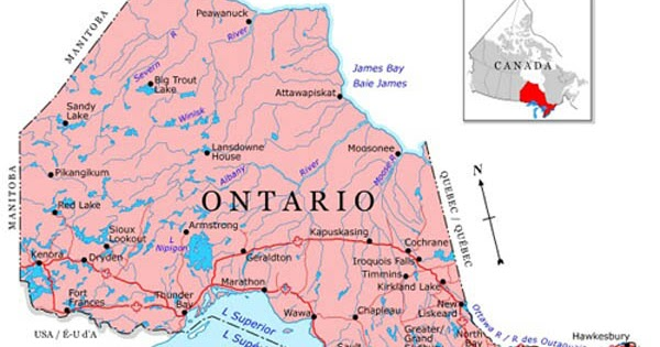 Ontario Regions Map Map of Canada City Geography