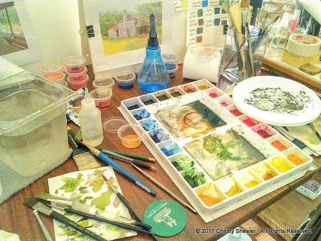Another glance at the messy work table during a painting session.