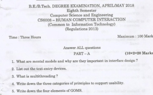 Anna University B E B Tech Computer Science Engineering Cs6008 Human Computer Interaction Question Paper Anna University Question Papers