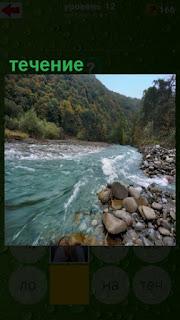 сильное течение реки и каменистые берега