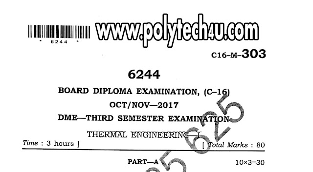 C-16 DME THERMAL ENGINEERING QUESTION PAPERS OCT/NOV-2017