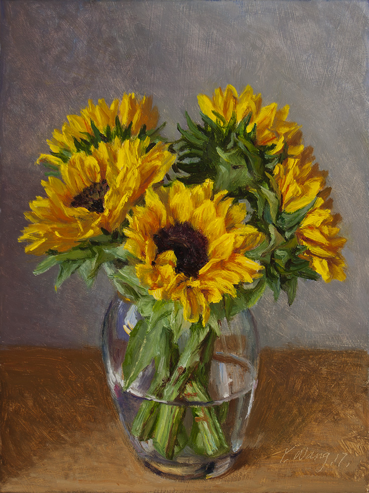 Wang Fine Art Sunflower Oil Painting Original Still Life