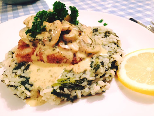 Hake with Mushroom sauce on a Seaweed Risotto bed