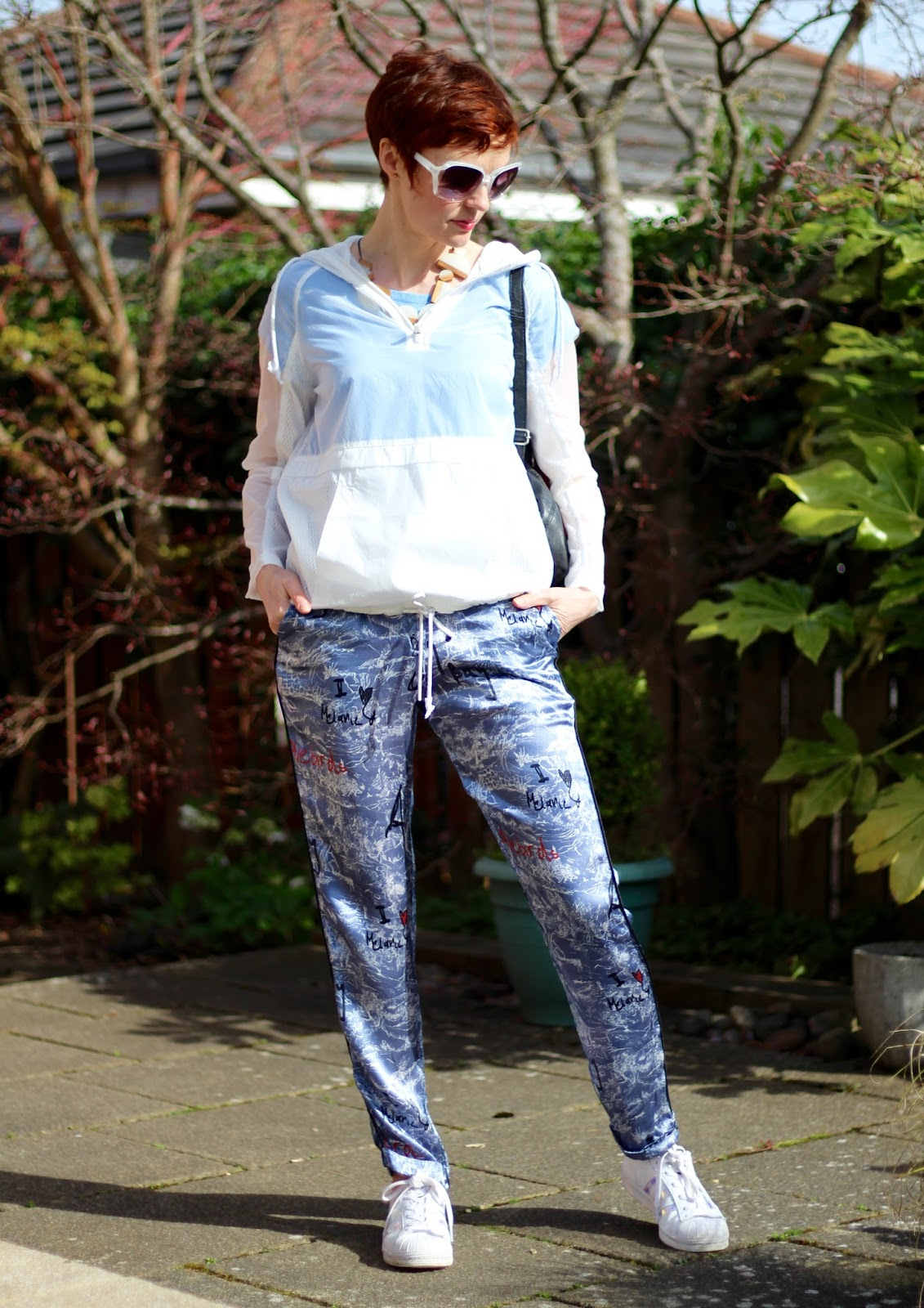 Athleisure at any Age | Topshop Satin Joggers, Next Sheer hoody and Adidas Superstars!