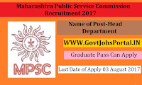 Maharashtra Public Service Commission Recruitment 2017– Head of the Department