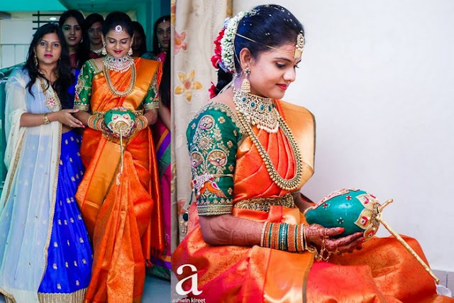 Bride in Traditional Bridal Saree in Red