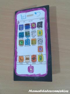 Movil celular para recortar y colorear para el Dia del padre