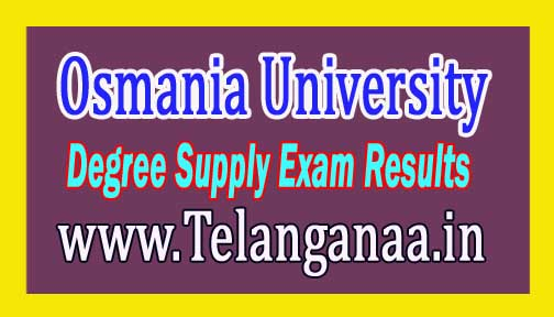 Osmania University OU Degree Supply Exam Results 2016 Download