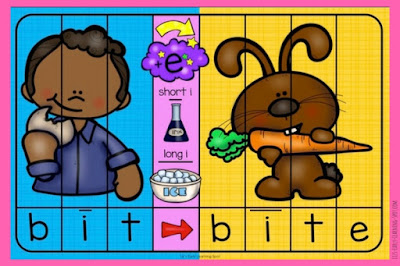 Free CVC to CVCE puzzles! Download them from Liz's Early Learning Spot.
