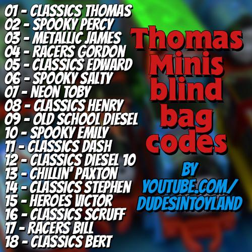 Dudes in Toyland: Thomas MINIS blind bag codes 2015