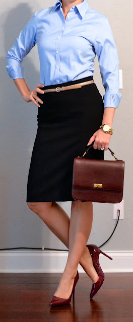 Outfit Post Blue Button Down Shirt Black Pencil Skirt