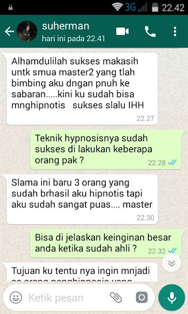 testimoni pelatihan hipnotis dan hipnoterapi