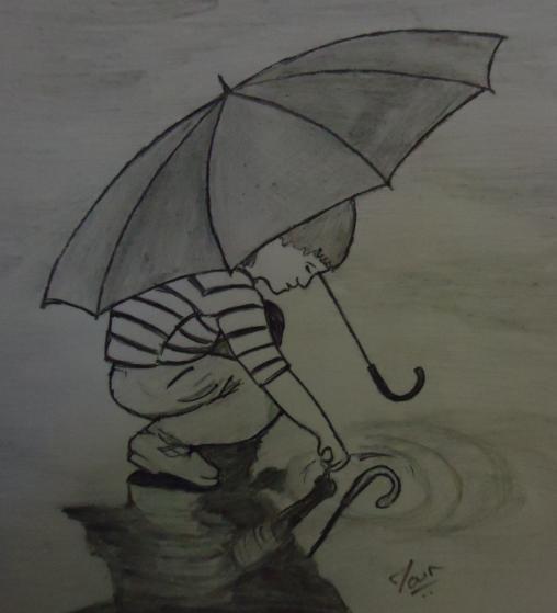 Kid enjoying in rain