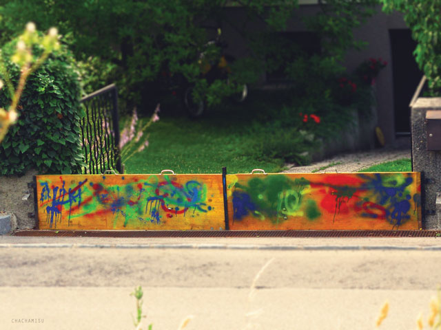 Chachamisu photography - color me photos - pop colors,red, blue, yellow, green, a little orange and pink,primer colors, hues, colorful summer in Austria, fun, energetic and dynamic colors, whimsical founds, graffiti, gate, exterior, house