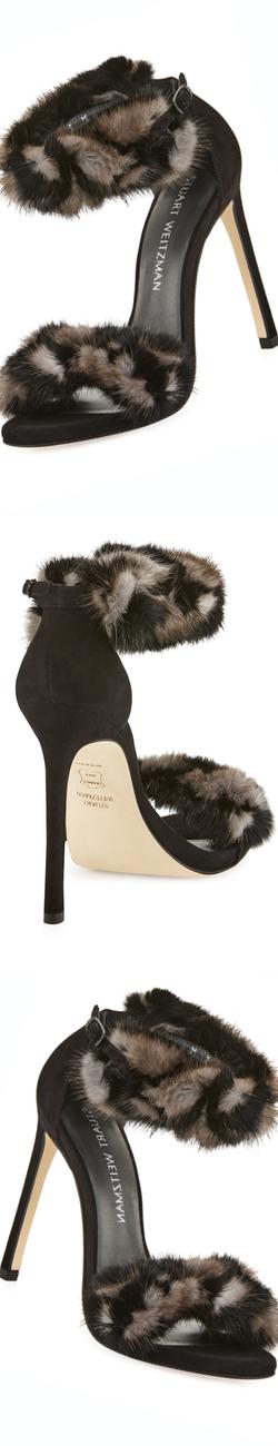 Stuart Weitzman Bunnylove Mink-Fur Sandal, Smoke/Nero