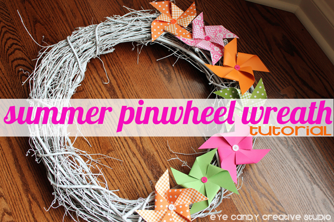 summer pinwheel wreath tutorial, grapevine wreath, pinwheels, summer