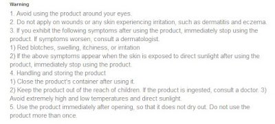 Read the Warning!! Source: Innisfree Official Site