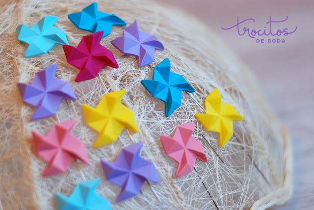 Alfiler de molinillo origami Trocitos de Boda
