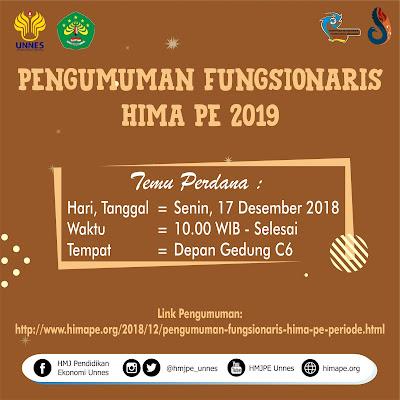 PENGUMUMAN FUNGSIONARIS HIMA PE PERIODE 2019
