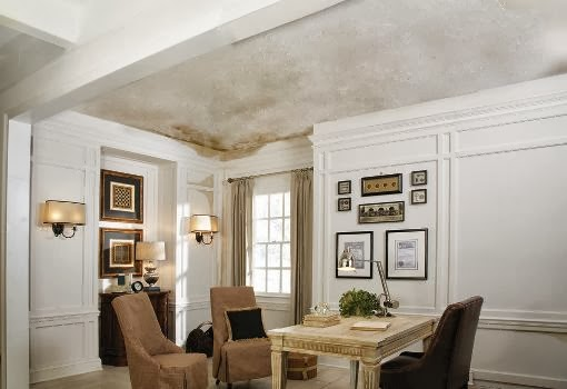 How to fix a water damaged ceiling in white room