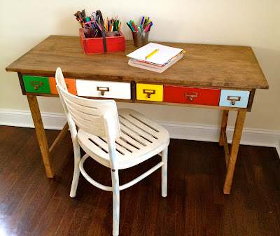 kids desk playtable with multi color drawers