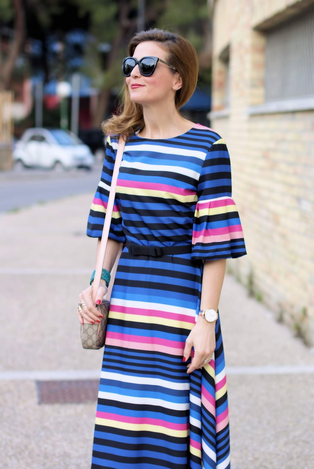 Striped dress and Gucci bag on Fashion and Cookies fashion blog, fashion blogger style