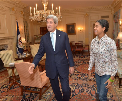 Photos: 14 year old Nigerian-America, Zuriel Oduwole meets with US Secretary of State, John Kerry