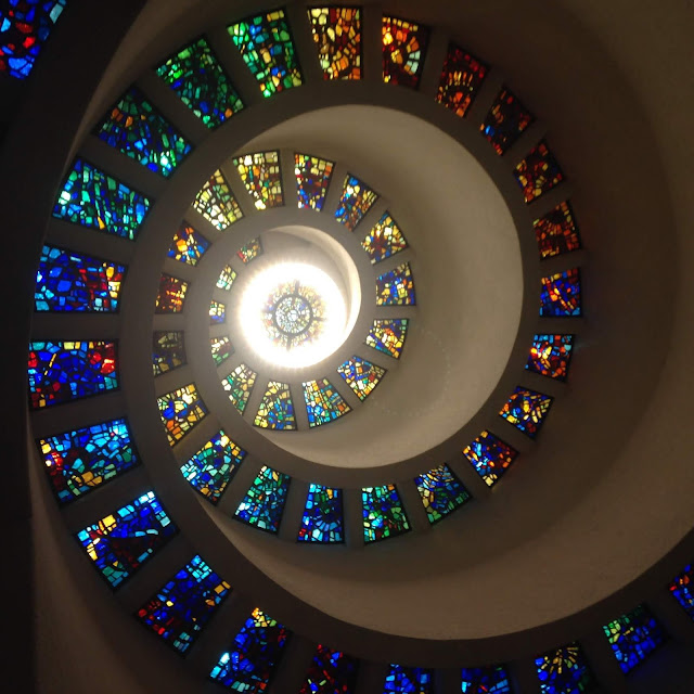 spiraled stained glass window at Thanks-Giving Square in Dallas, Texas