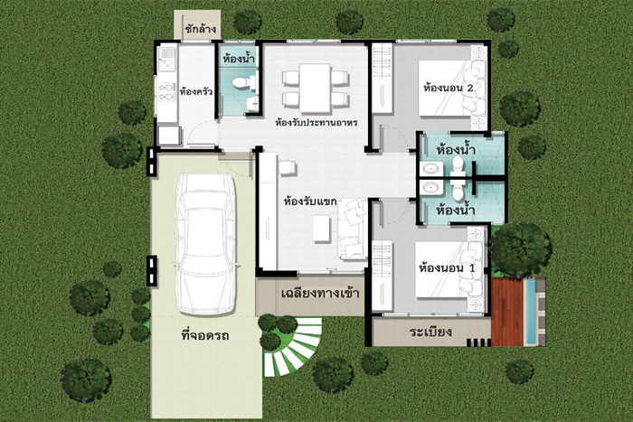 Simplicity and elegance come together in these house plans, in which we will see both the interior and exterior design. These houses also are not only attractive but are also very efficient and practical for everyday living as well. Let's take a look.  Advertisement       Sponsored Links   z   HOUSE PLAN 1    This is a single storey house consisting of 3 bedrooms, 1 bedroom, 1 big hall divided into living room with kitchen. And there is a terrace outside. The area of 75 square meters.                                                                     HOUSE PLAN 2    Modern style 2 bedrooms and 1 bathroom, decorated in white and gray.                                  HOUSE PLAN 3    The house has an area of 82 square meters and consists of 2 bedrooms, 1 bathroom, hall and kitchen.                                 HOUSE PLAN 4    The one storey house consists of 2 bedrooms, 3 bathrooms, kitchen and garage. The area of 117 square meters.                            HOUSE PLAN 5    This house has a total living area of 108 square meters with 2 bedrooms and 1 bathroom    .                                      SOURCE: naibann