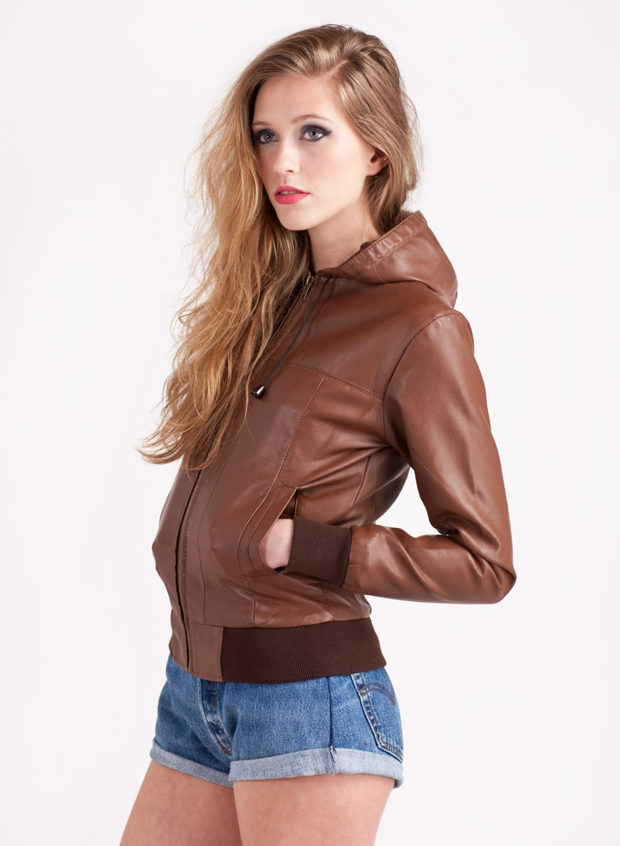 372dfd9b985 Womens Vintage Brown Faux Hooded Leather Bomber Jacket