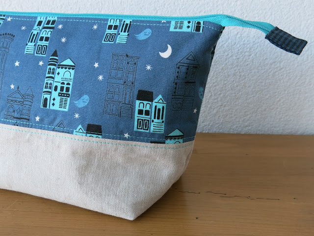 Luna Lovequilts - Open Wide zippered pouch in Cotton and steel fabrics - tutorial by Noodlehead